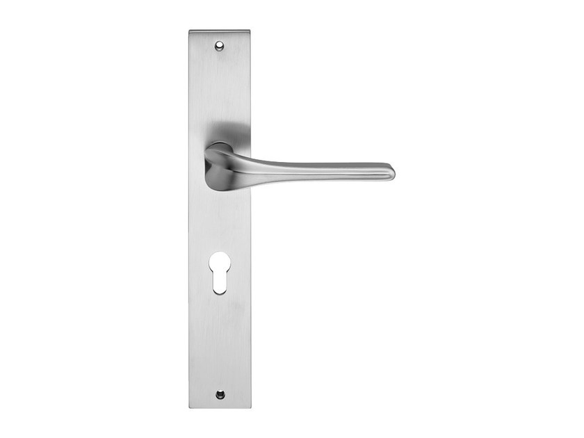 Contemporary style brass door handle on back plate SPIRIT | Door handle on back plate - LINEA CALI'