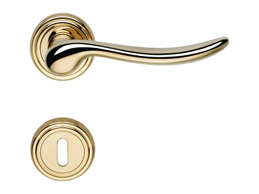 Classic style brass door handle with lock BETA | Door handle with lock - LINEA CALI'