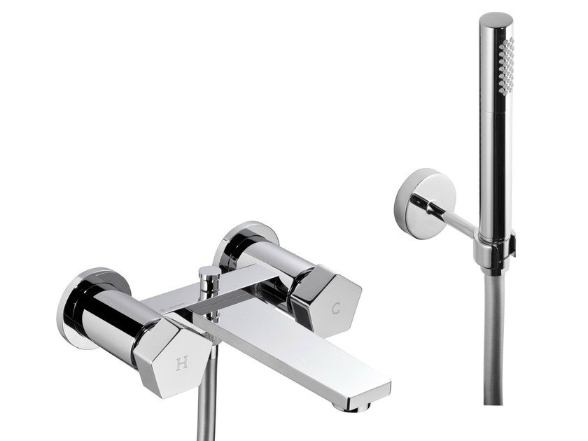 2 hole wall-mounted bathtub tap with hand shower PARK | Bathtub tap with hand shower by newform