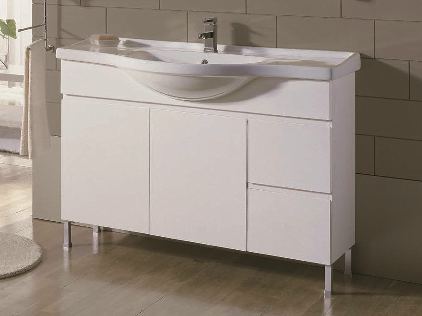 Floor-standing single vanity unit VENTO 60 by Mobiltesino
