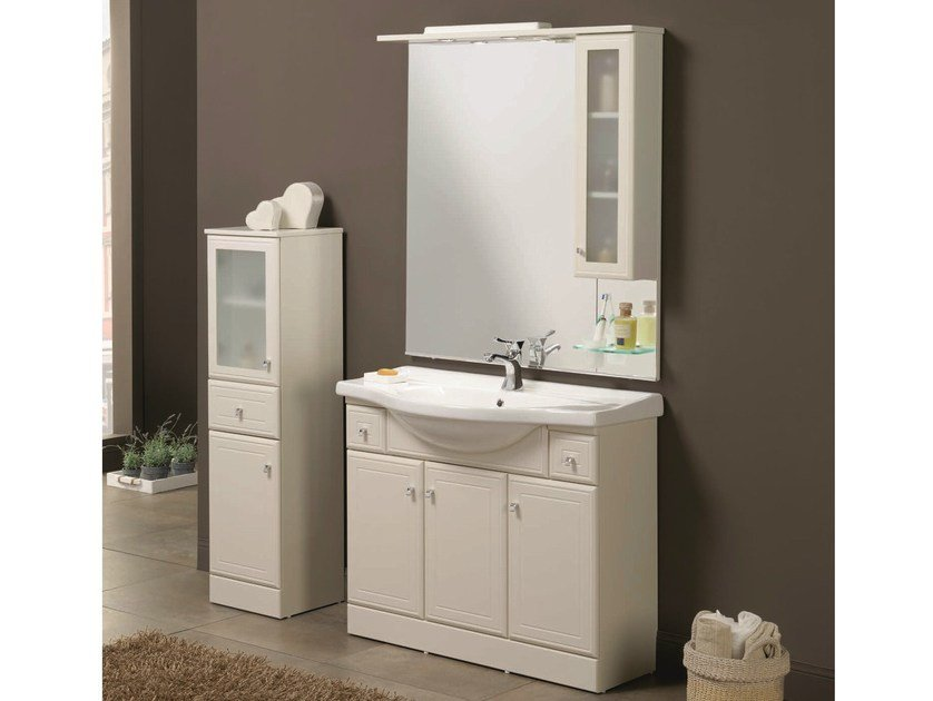 Floor-standing vanity unit with doors MARA 01 - Mobiltesino