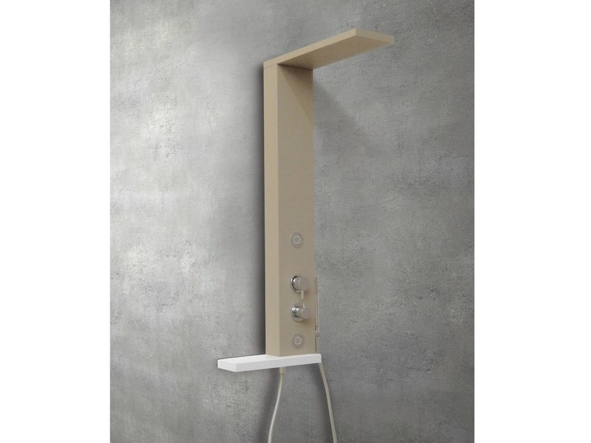 Wall-mounted shower panel with overhead shower TRIPTI - Glass 1989
