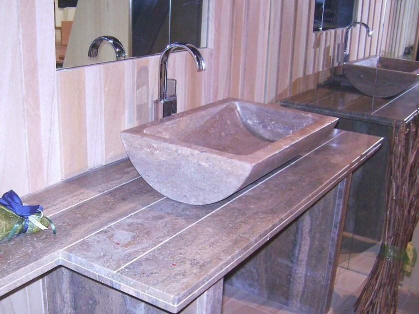 Countertop rectangular natural stone washbasin EPSYLON by RAMA 1956