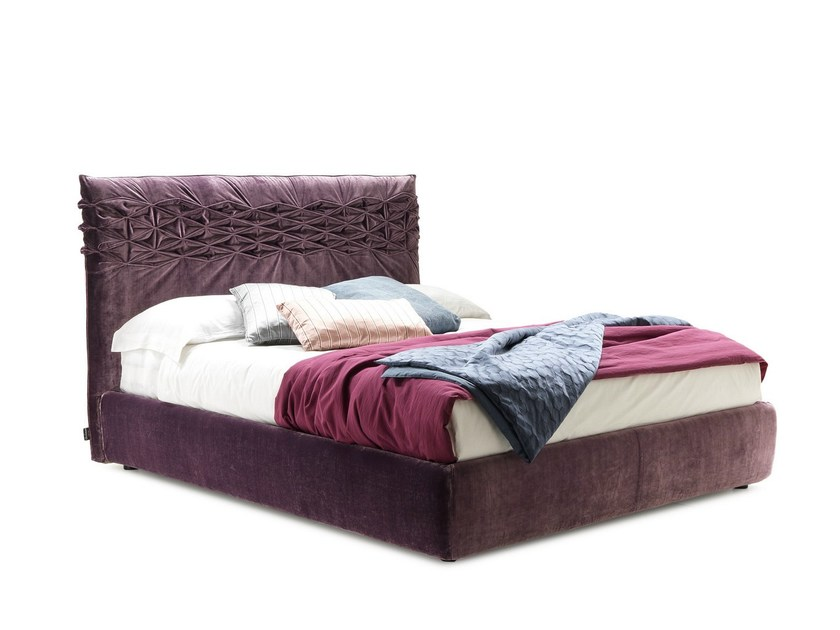 Fabric double bed with high headboard NICE BIG by Bolzan Letti