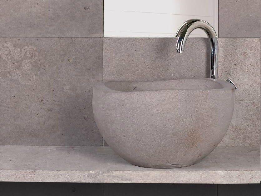 Countertop round natural stone washbasin RUPESTRI - DANILO RAMAZZOTTI ITALIAN HOUSE FLOOR