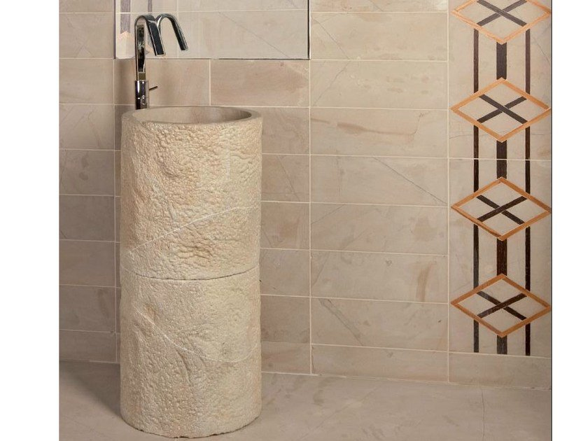 Freestanding round natural stone washbasin CEPPO LINFA by RAMA 1956