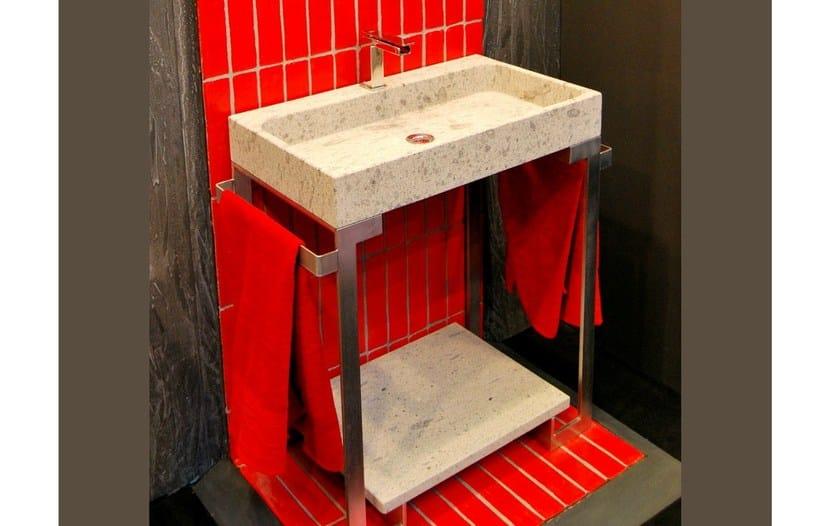 Console rectangular natural stone washbasin NEW YORK by RAMA 1956
