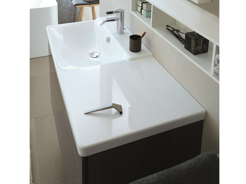 Contemporary style rectangular single washbasin with integrated countertop P3 COMFORTS | Washbasin with integrated countertop - DURAVIT