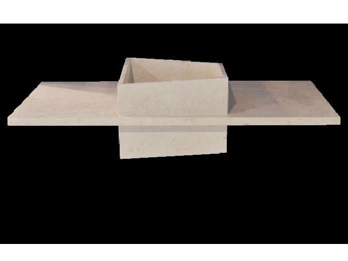 Natural stone washbasin with integrated countertop SIMP - DANILO RAMAZZOTTI ITALIAN HOUSE FLOOR