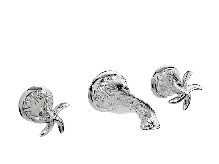3 hole wall-mounted chromed brass washbasin tap 230733.B040.50 | Washbasin tap - Bronces Mestre