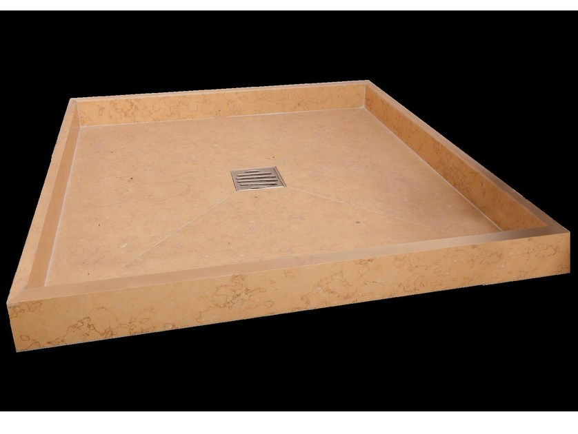 Square natural stone shower tray TOPAZIO - DANILO RAMAZZOTTI ITALIAN HOUSE FLOOR