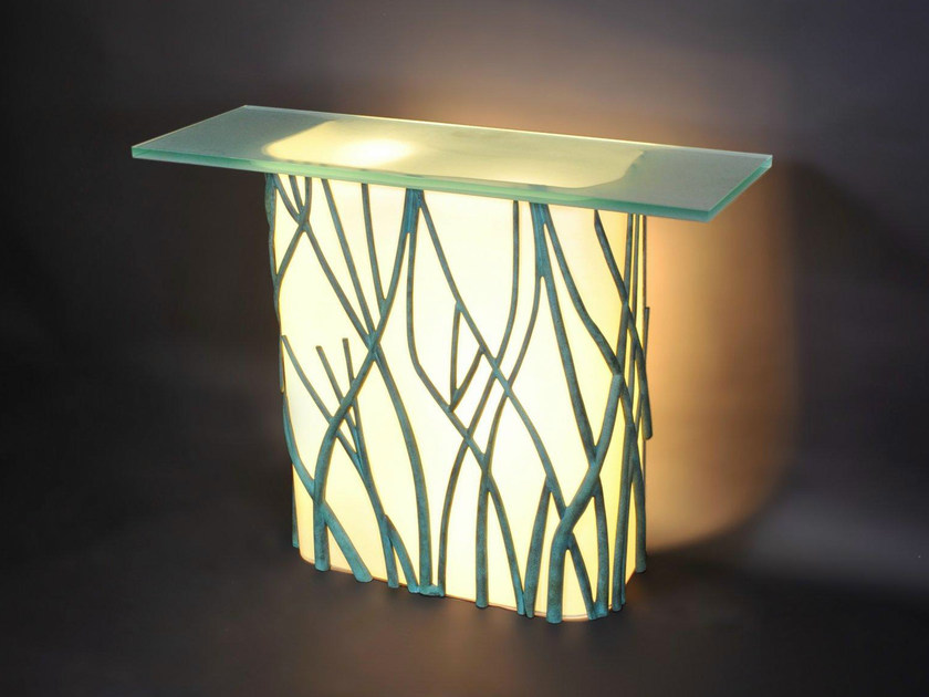 Bronze console table with light 47200 | Console table with light - Tisserant