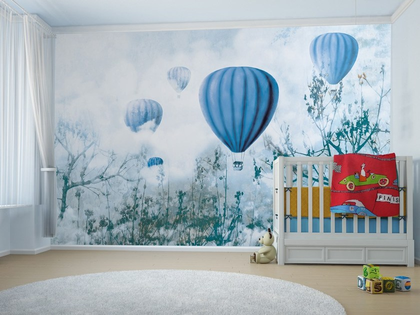 Contemporary style motif adhesive fabric kids wallpaper BALLOON & CLOUDS B - MyCollection.it
