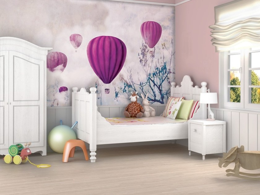 Classic style motif adhesive fabric kids wallpaper BALLOON & CLOUDS G - MyCollection.it