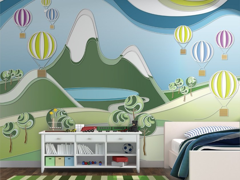 Contemporary style motif adhesive fabric kids wallpaper GIROVAGANDO - MyCollection.it