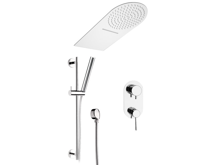 Stainless steel shower wallbar with overhead shower MINIMAL | Shower wallbar with overhead shower - Remer Rubinetterie