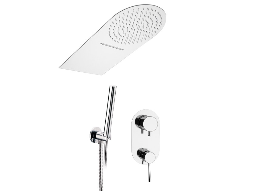 Built-in stainless steel shower panel with hand shower MINIMAL | Shower panel with hand shower - Remer Rubinetterie