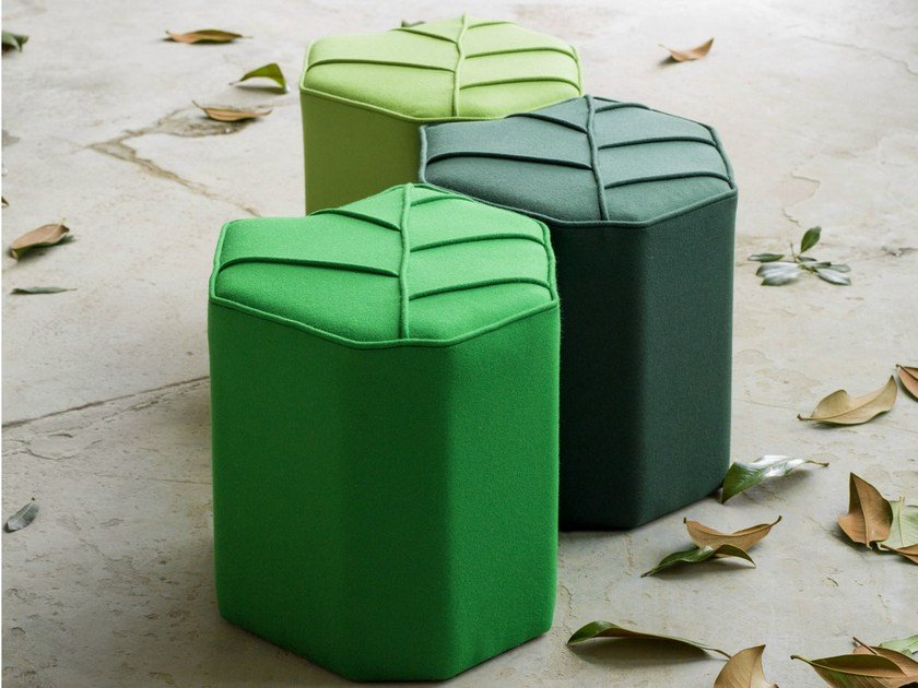 Upholstered wool pouf LEAF SEAT - Design by nico