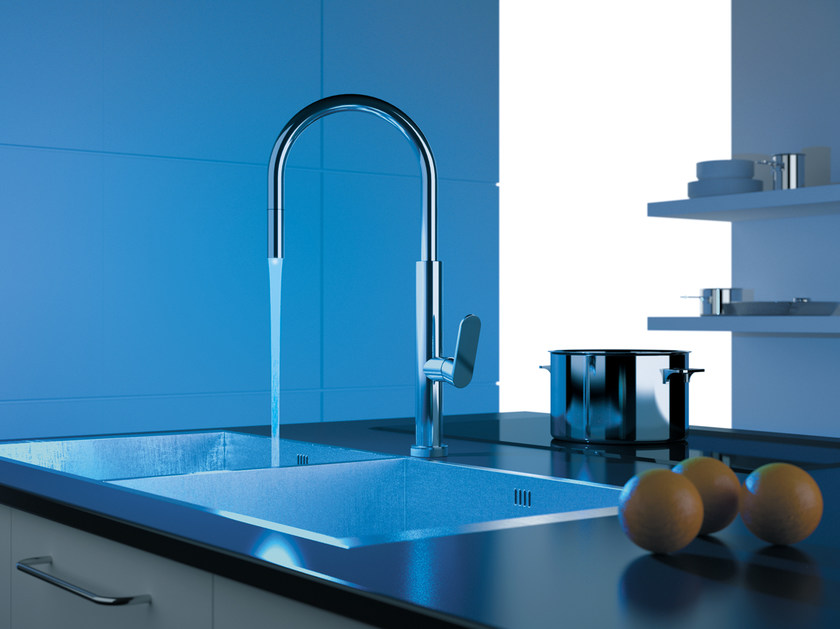 Countertop kitchen mixer tap with pull out spray NKR 73 | Kitchen mixer tap - Remer Rubinetterie