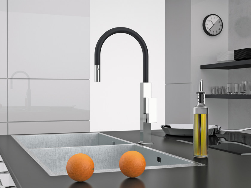 Countertop kitchen mixer tap with pull out spray QK 73 N | Kitchen mixer tap - Remer Rubinetterie