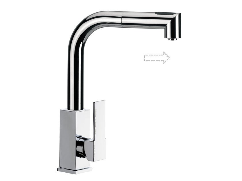 Chromed brass kitchen mixer tap with pull out spray Q 82 | Kitchen mixer tap - Remer Rubinetterie