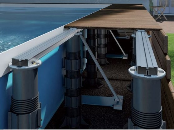 Modular system for raised flooring Woodeck floor system by Italfloor