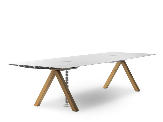 Meeting table with cable management TABLE B CABLE MANAGEMENT - BD Barcelona Design