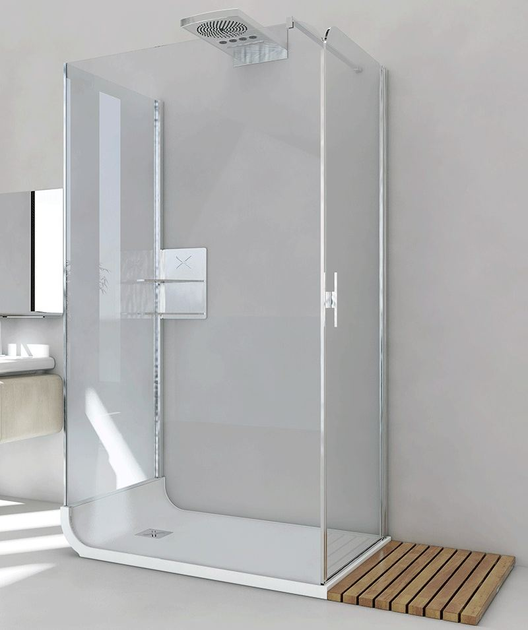 Free standing crystal shower cabin with tray CURVE AB + F1 + F2 - RELAX
