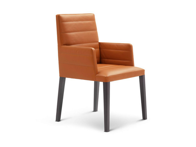 Leather chair with armrests LOUISE | Chair with armrests by Poltrona Frau