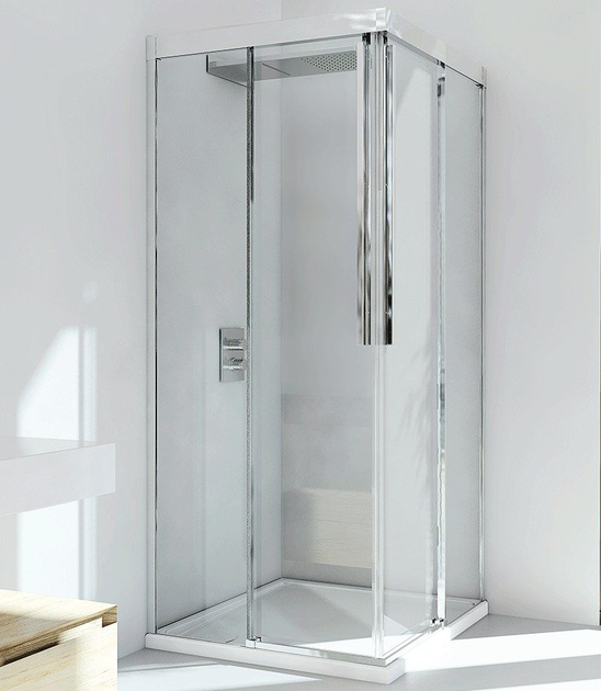 Corner glass and aluminium shower cabin with sliding door MYRES A by RELAX