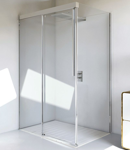 Corner glass and aluminium shower cabin with sliding door MYRES SC1 + F - RELAX