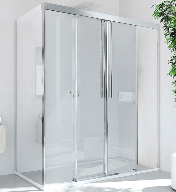 Corner glass and aluminium shower cabin with sliding door MYRES SC2 + F - RELAX