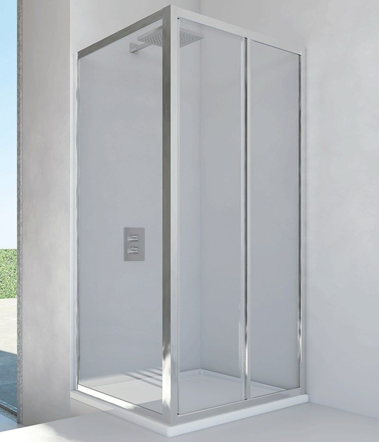 Corner glass and aluminium shower cabin with sliding door LYRA SC1 + F - RELAX