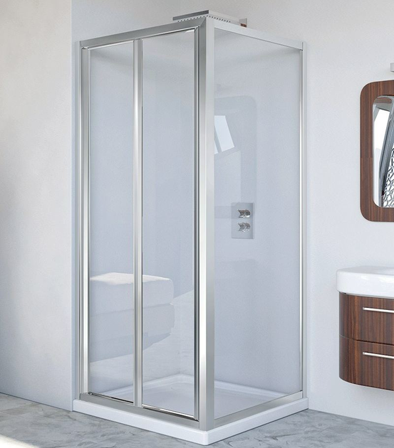 Corner glass and aluminium shower cabin with folding door LYRA PS + F - RELAX