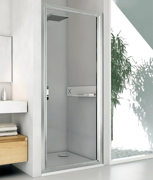 Niche glass and aluminium shower cabin with hinged door LYRA B1 by RELAX