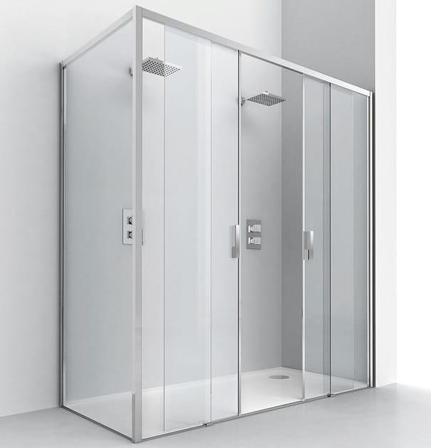 Corner crystal shower cabin with sliding door LIGHT SC2 + F2 - RELAX