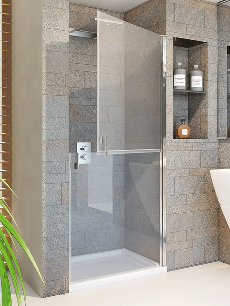 Niche crystal shower cabin with hinged door LIGHT D1 - RELAX