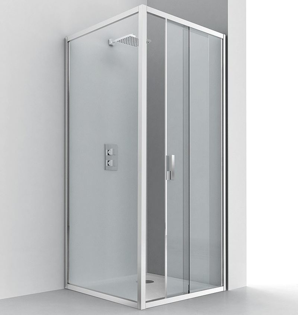 Corner glass and aluminium shower cabin with sliding door EVOLUTION SC1 + F2 - RELAX