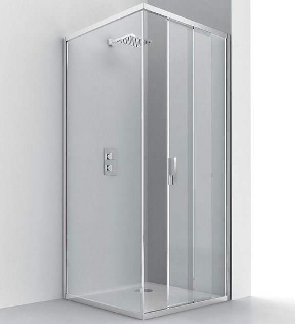 Corner glass and aluminium shower cabin with sliding door EVOLUTION SF + F1 - RELAX
