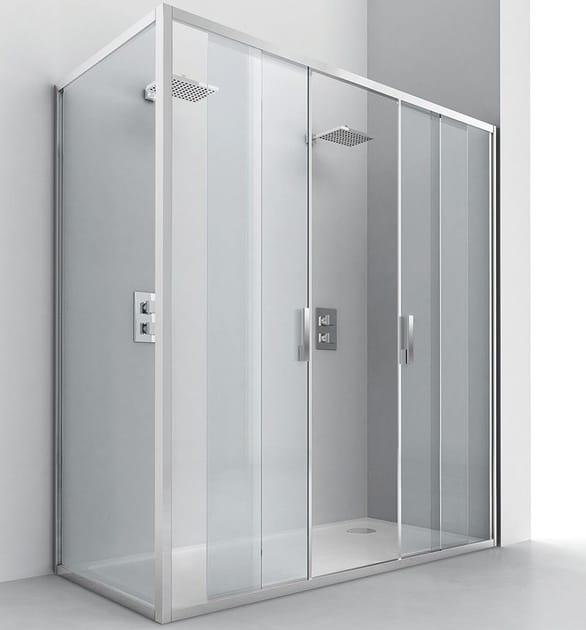 Corner crystal shower cabin with sliding door EVOLUTION SC2 + F2 - RELAX