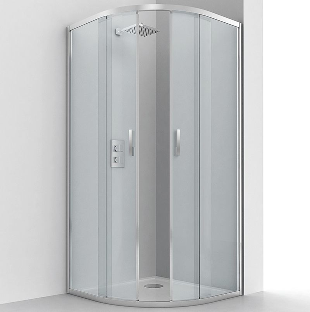 Semicircular glass and aluminium shower cabin with sliding door EVOLUTION R2-S - RELAX