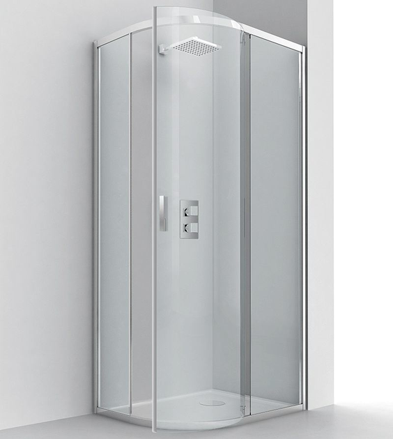 Semicircular glass and aluminium shower cabin with pivot door EVOLUTION RA-B - RELAX