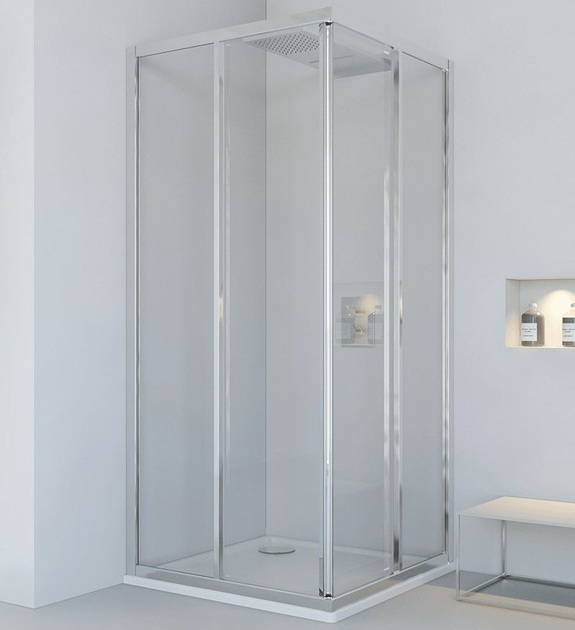 Corner glass and aluminium shower cabin with sliding door LYRA A - RELAX