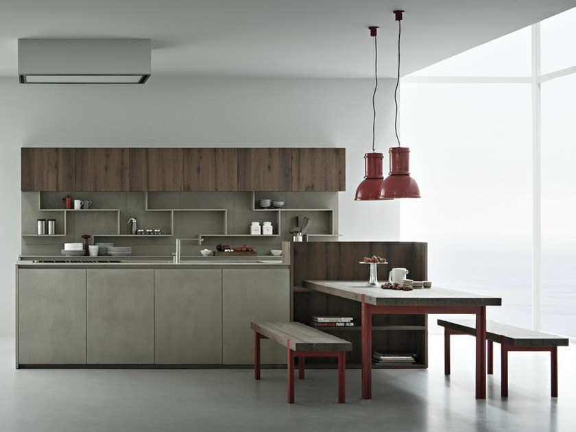 Concrete resin kitchen with island LINE K | Kitchen with island - Zampieri Cucine