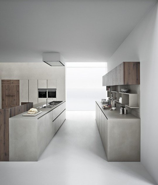 Cucina in resina di cemento con isola line k cucina con - Cucine in cemento ...