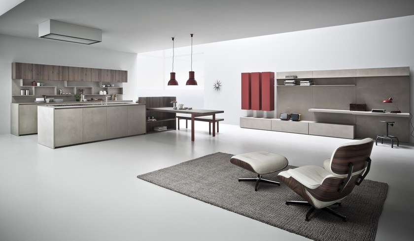 Cucina in resina di cemento con isola line k cucina con - Resina parete cucina ...