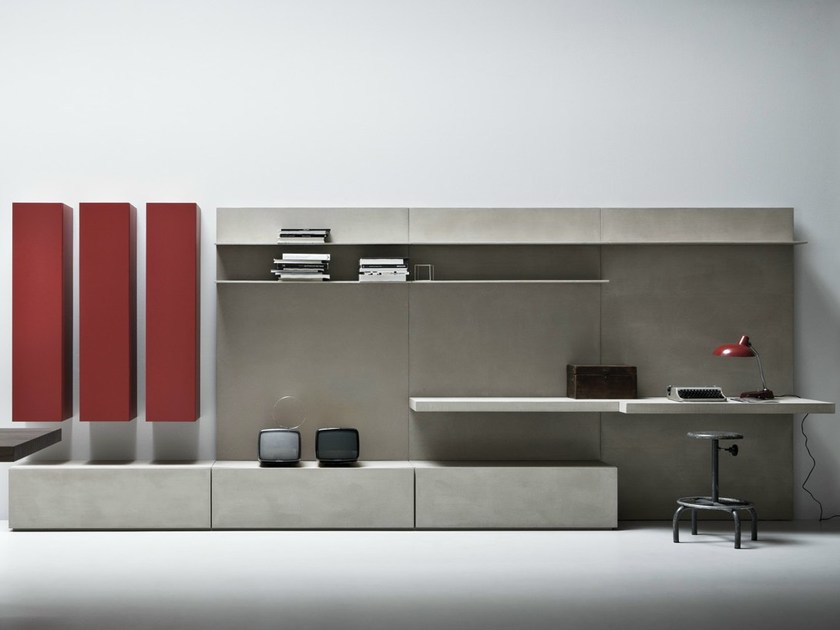 Wall-mounted concrete resin storage wall LINE K | Storage wall - Zampieri Cucine