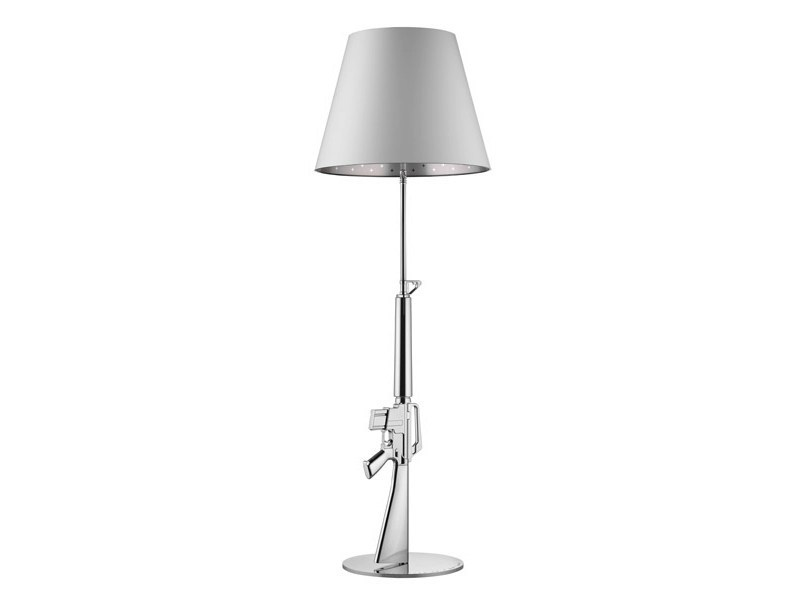 Chrome plated steel floor lamp with dimmer GUNS - LOUNGE GUN | Chrome plated steel floor lamp - FLOS