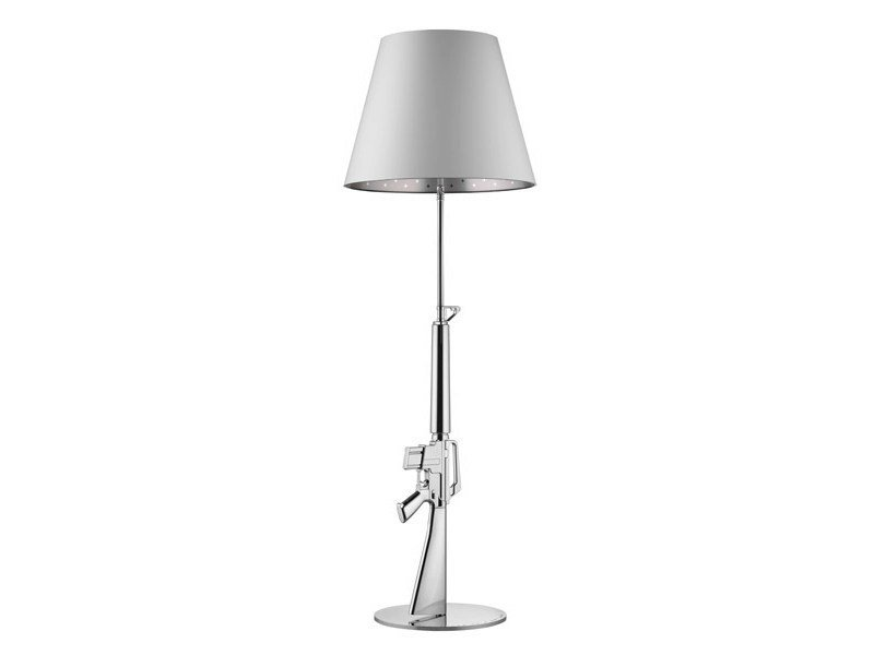 Chrome plated steel floor lamp with dimmer GUNS - LOUNGE GUN | Chrome plated steel floor lamp by FLOS