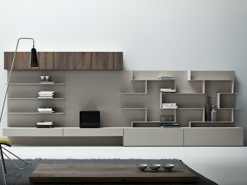 Wall-mounted cement storage wall LINE K | Wall-mounted storage wall - Zampieri Cucine